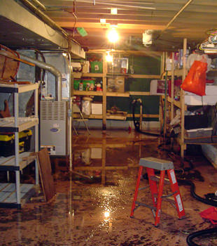 a flooded home in Grayslake