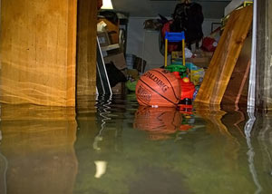 A flooded basement bedroom in Libertyville